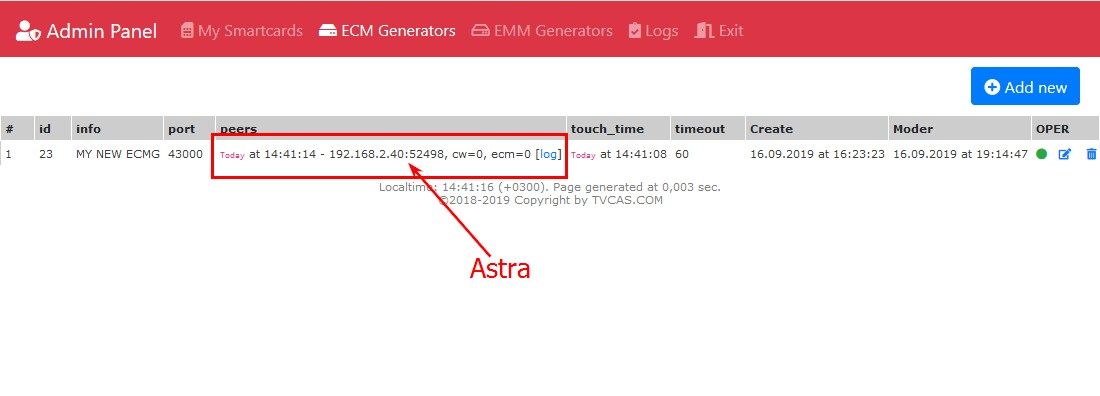 Connect 1 - ECMG-ASTRA