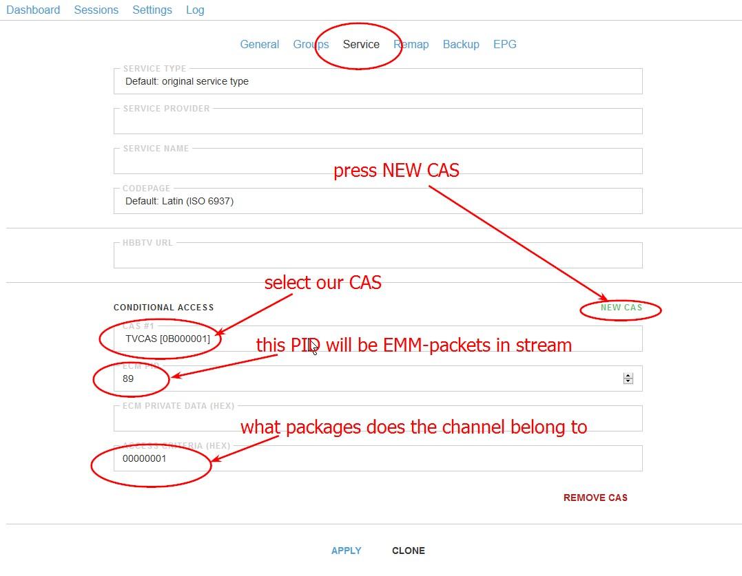 Шаг 2 - в свойствах канала добавляем NEW CAS